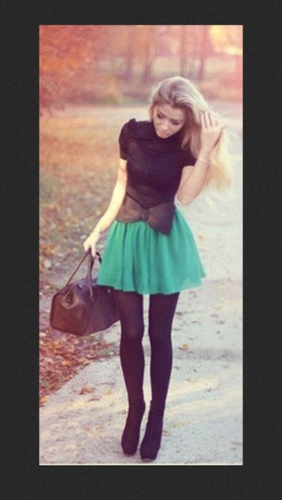 What to wear as the autumn air comes near. Take a skirt in a bold color and add black.