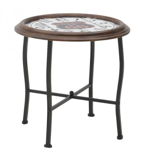METAL_WOODEN  COFFEE TABLE 'CLOCK' 60X60X60