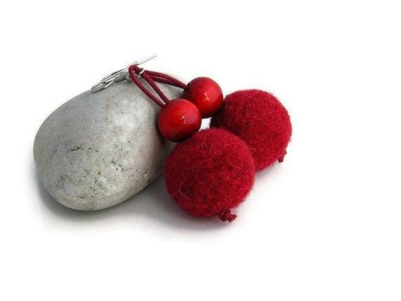 BUY 2 GET 1 FREE    Red Felted Earrings Cherry by JKWJewellery, $12.50