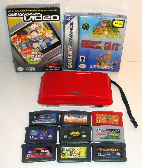 RED ORIGINAL NINTENDO DS SYSTEM & 11 GAME LOT POKEMON FIRERED EARTHWORM JIM  #Nintendo