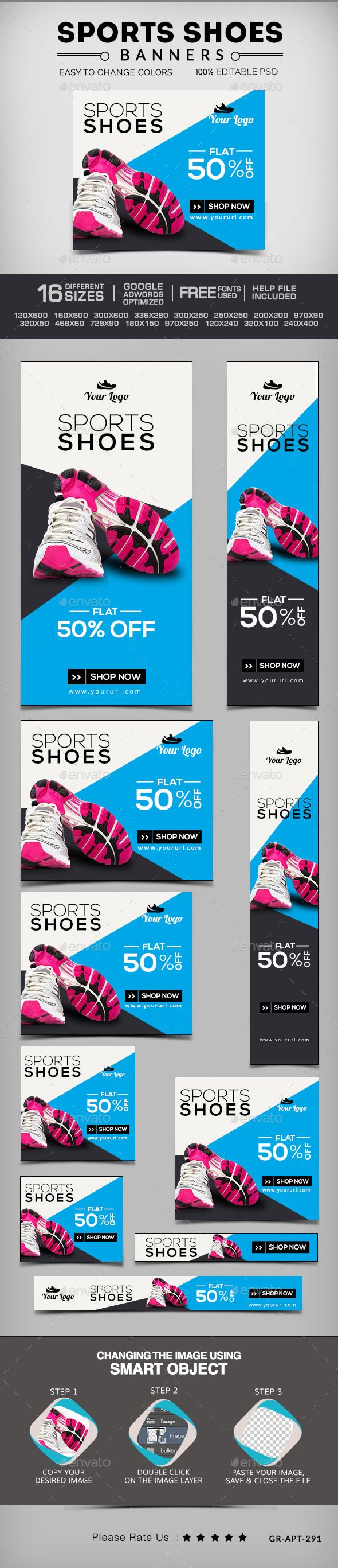 Online shoes shopping banners Template PSD | #shoeswebbanners #shoesbanners…