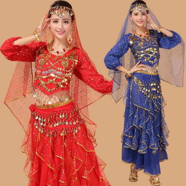 2016 New Style Sexy Chiffon Belly Dance Bellydance Costumes Suit Indian Dancewear Women Clothing Dancing Tassel Skirt