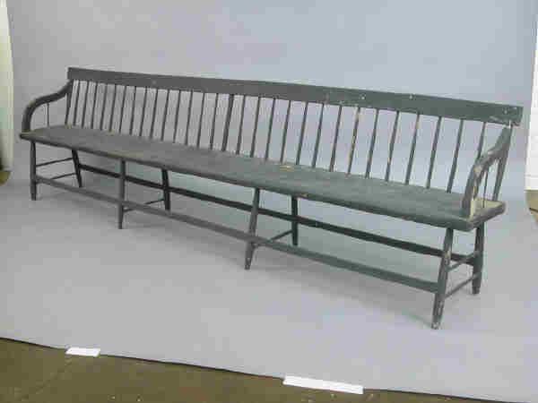 Primitive Painted Furniture | Primitive painted pine settle / benc