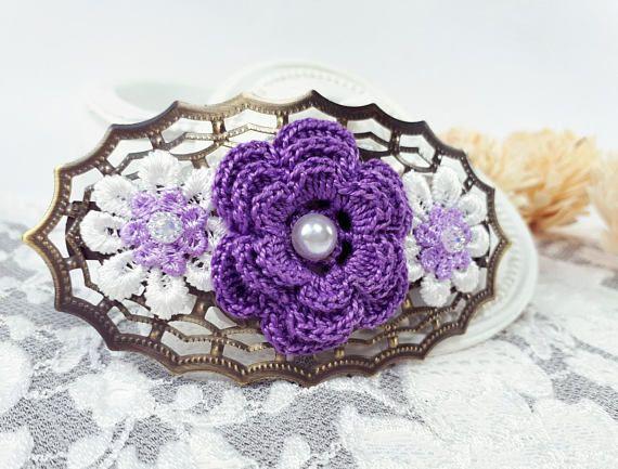 #barrette #hairbarrette #purplebarrette #hairjewelry #hairaccessory #crochet #crochetflower #crochetbarrette by Rocreanique on Etsy