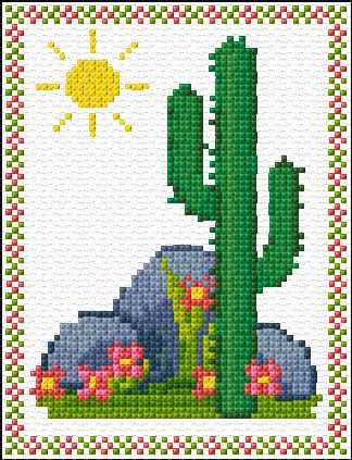 SAGUARO CACTUS CROSS STITCH PATTERN | Free Cross Stitch Patterns