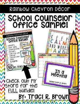 School Counselor Office Sampler! Welcome back to school! Here is a FREE SAMPLE of my rainbow chevron themed school counselor office dcor bundle! This will brighten up any school counselor office! This is perfect for elementary (k-5)! This product includes:*Calendar*Door Sign*Inspirational PosterIf you love this sample, try out the bundle here: 2015  2016 Rainbow Chevron School Counselor Office Dcor (Bundle) *Please ask any questions you have about the file, prior to purchasing.