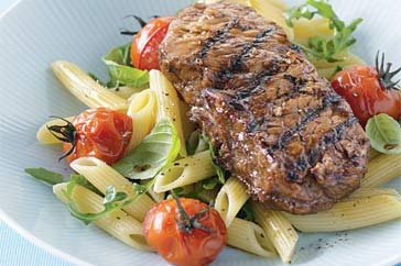 Balsamic steak with tomato pasta salad. A favourite at our place!