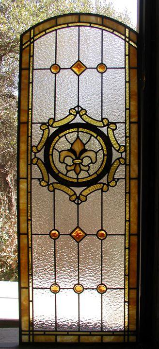 Fleur de Lis leaded Glass Bathroom Door
