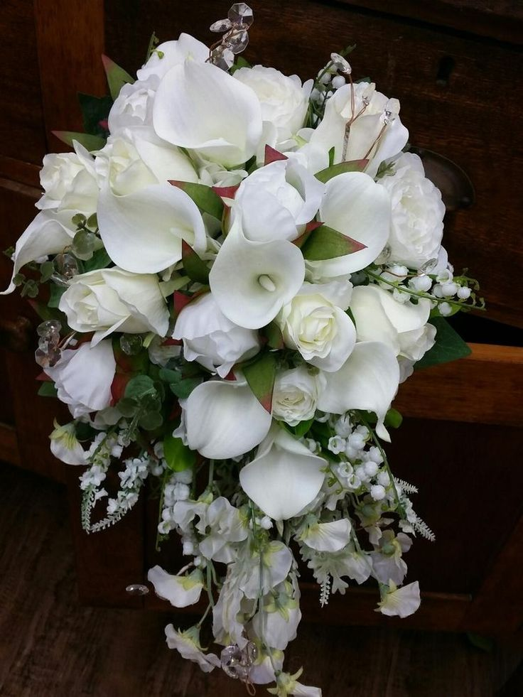 TRAILING WHITE IVORY WEDDING BRIDAL BOUQUET ROSES,CALLA LILY,PEONY ROSES