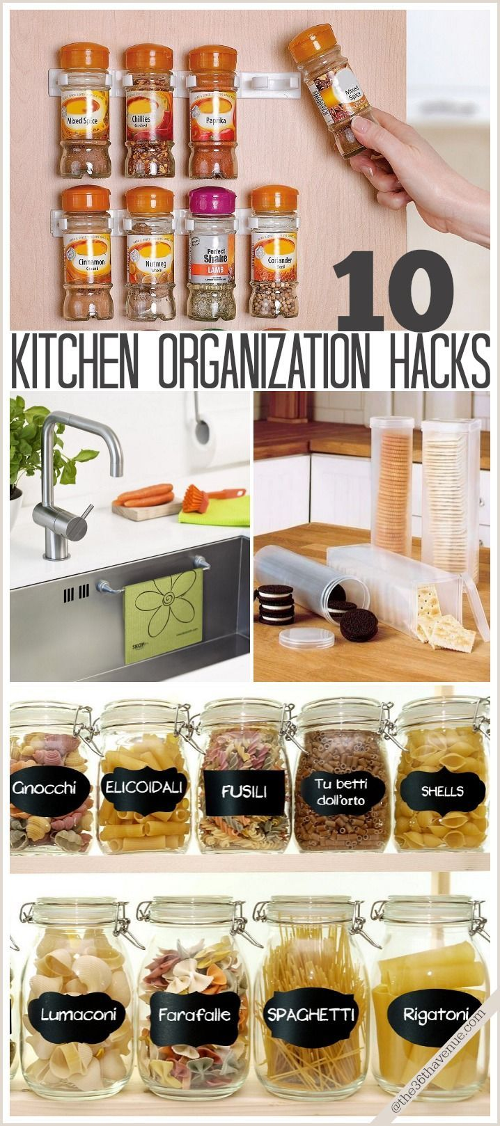 These 10 simple kitchen-organizing hacks use everything from wall clips for spices to magnetic dish towel racks, and are a great way to save space and hassle in kitchens of any size.