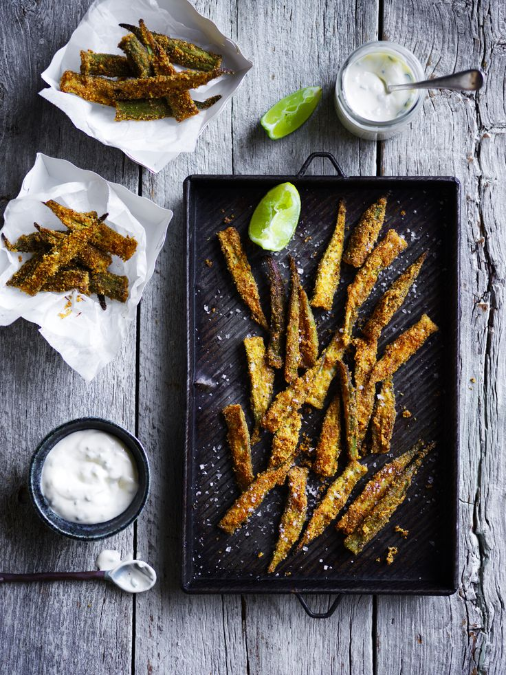 Spicy and crunchy, cajun okra with chilli lime aioli is a healthy and quick alternative to fried chips.
