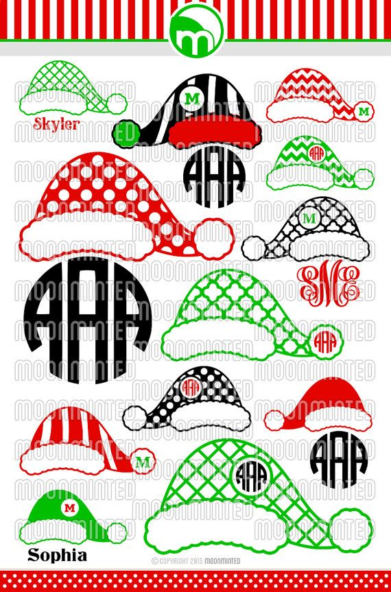 Christmas Santa Claus Hats SVG Cut Files Monogram by MoonMinted