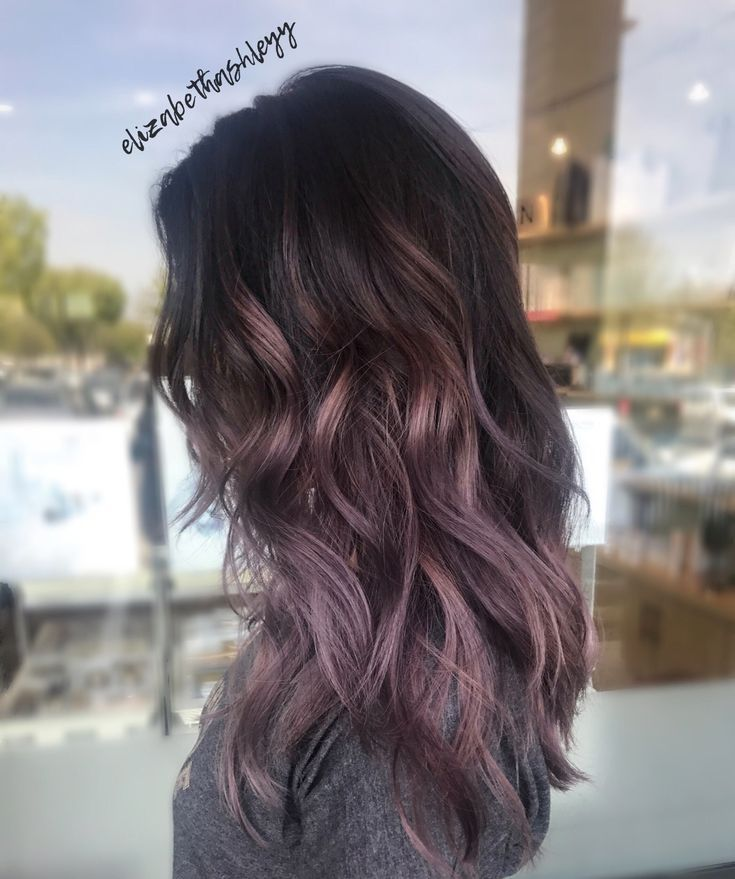 20 Pretty Purple Highlights Ideas For Dark Hair Purple Ombre Hair Hair Styles Balayage Hair