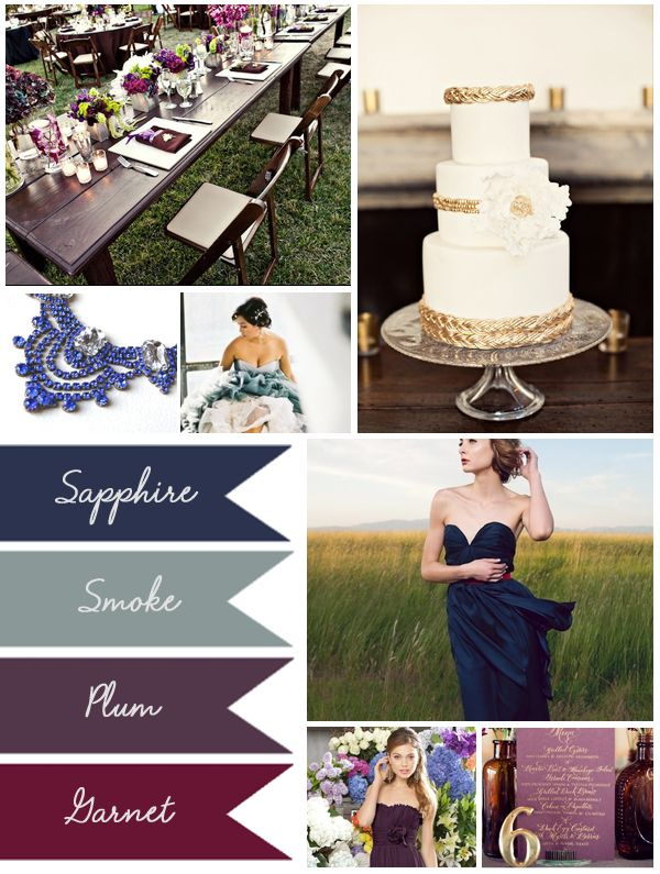 Muted Jewel Tones, Weddings, Inspiration, Wedding 101, Plum, Sapphire, Smoke, Plum