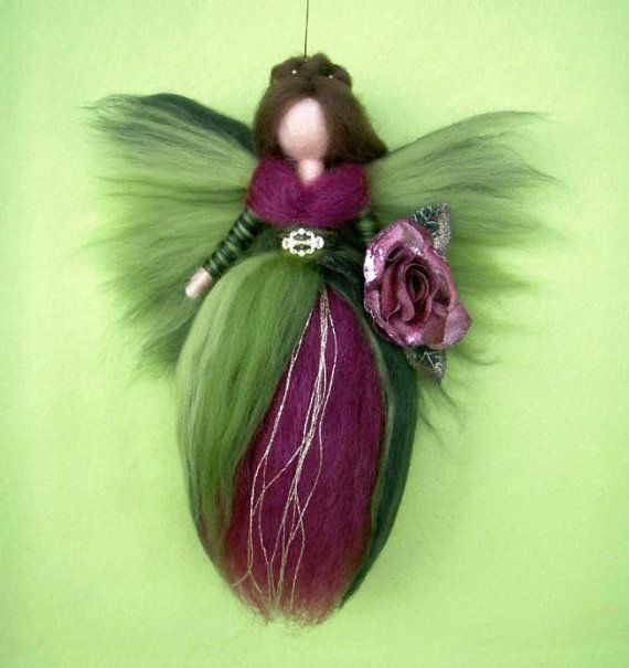 Needle Felted Wool Queen of Roses Fairy Doll  Angel by Holichsmir