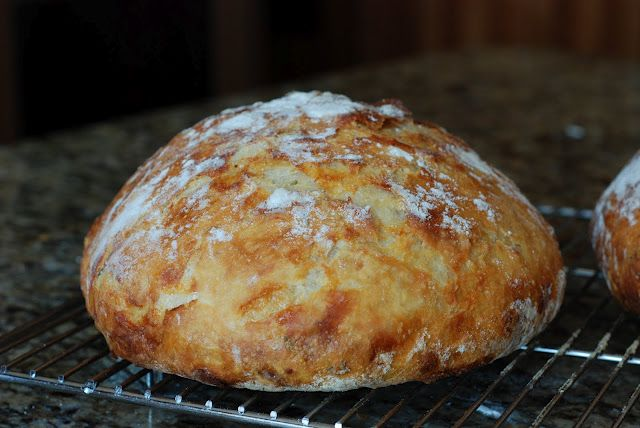 "Dutch oven bread. Just 4 ingredients, let it rise overnight & bake in a covered baking dish. Gives you a crusty, chewy loaf of ""artisan"" bread."