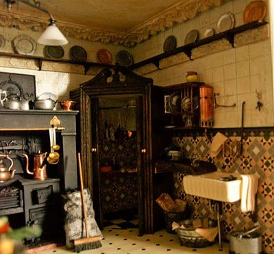 victorian miniature kitchen but would be amazing as a real kitchen!