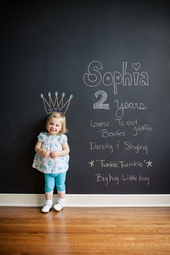 Precious photoshoot every year. Chalkboard paint one wall of their playroom.
