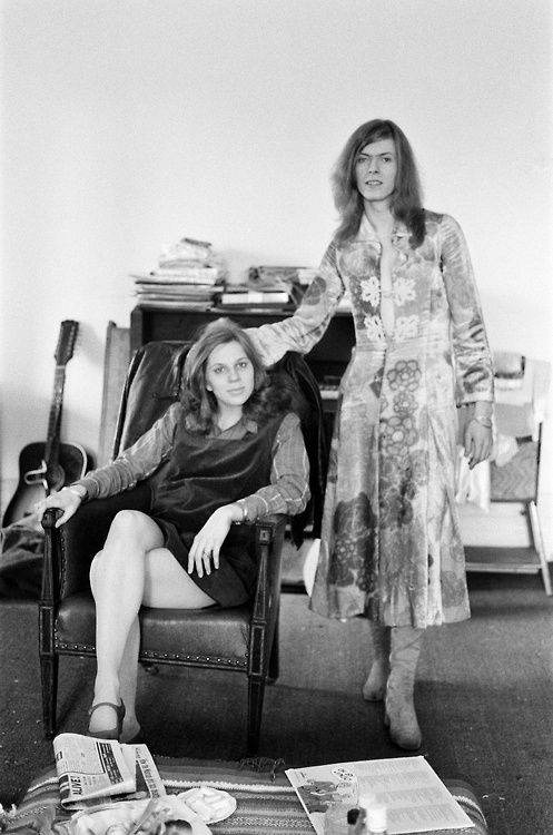David and Angie Bowie at their home in Haddon Hall, Beckenham, Kent - April 1971... before they transformed themselves into their Ziggy-era style.