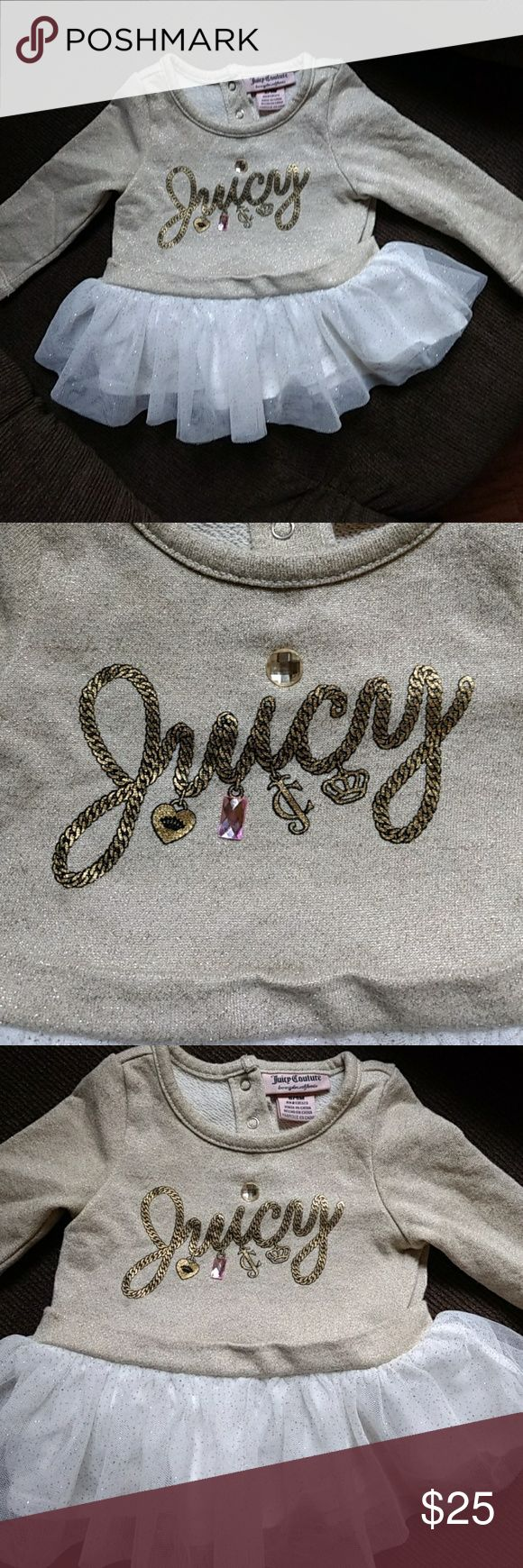 """*Juicy Couture Baby """"$25- OBO ADORABLE Juicy Couture Baby Tunic Dress Gold and White With Bling and attached Tutu Size 6/9 Months EUC Asking Only $25 OBO Juicy Couture Dresses"""