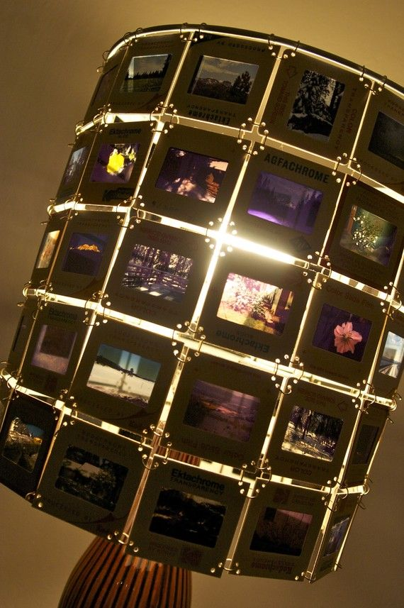 Convert photos into projector slides, and they can make a great lamp shade!