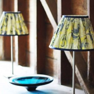 Janey Whitehorn hand marbled lampshades