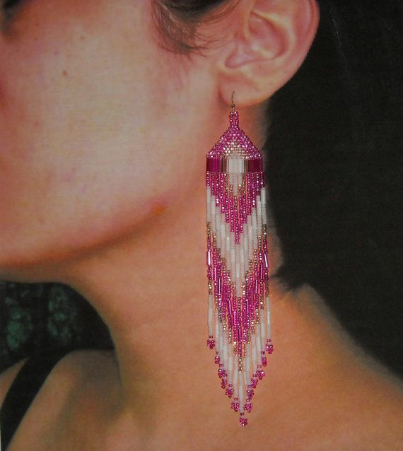 Native American Beaded Earrings Hot Pink White by BlueTurtleSky, $38.00