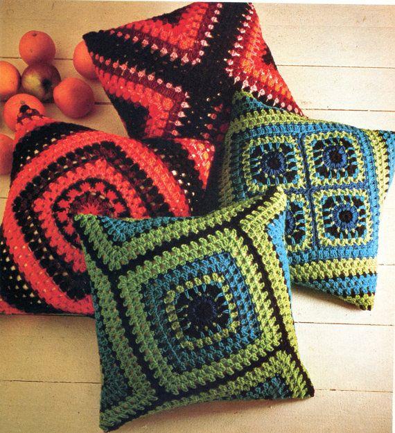 Two Fabulous Crochet Granny Square Pillow by PearlShoreCat on Etsy, $2.50 almohadones crochet
