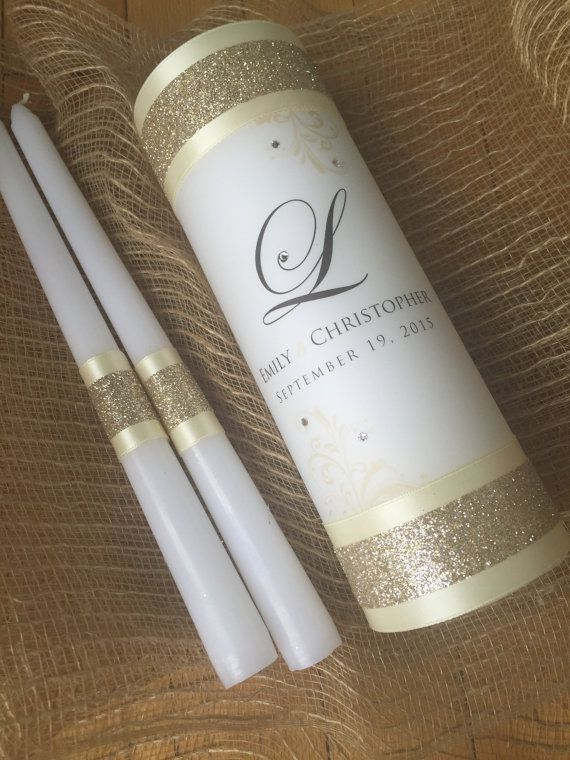 Wedding Unity Candle  Wedding Candles Gold by JaxDesigns27 on Etsy