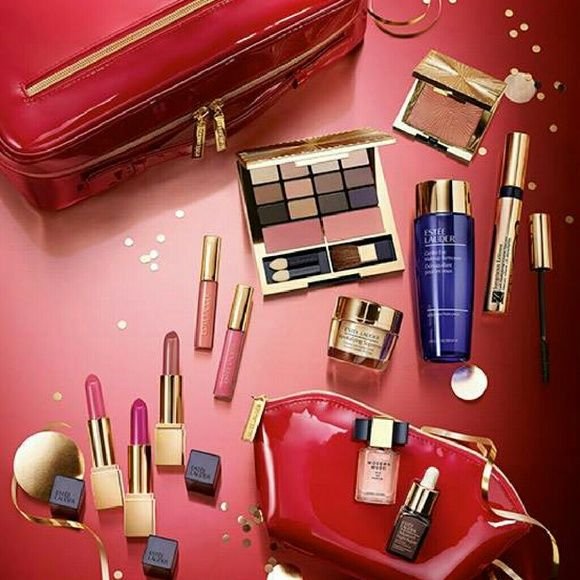 Estee Lauder 2015 Holiday Blockbuster gift set Gorgeous gift set from estee lauder! Includes Pure color envy sculpting eye shadow  Limited edition all over shimmer Modern muse perfume 3 lipsticks 2 lip gloss Advanced night repair recovery complex Resilience lift creme for face and neck Volume mascara extreme black Gentle eye make up remover  Comes in the beautiful, shiny red travel case and also comes with a small, red make up bag.  All items are unused and unopened. This is an amazing…