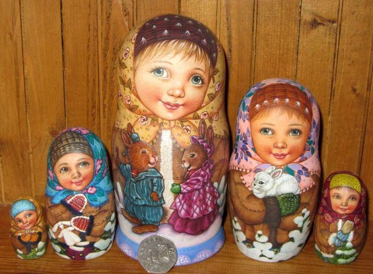 Russian Doll 5 Girls Bunny Rabbits SOKIRKINA Original HAND PAINTED MATT BABUSHKA