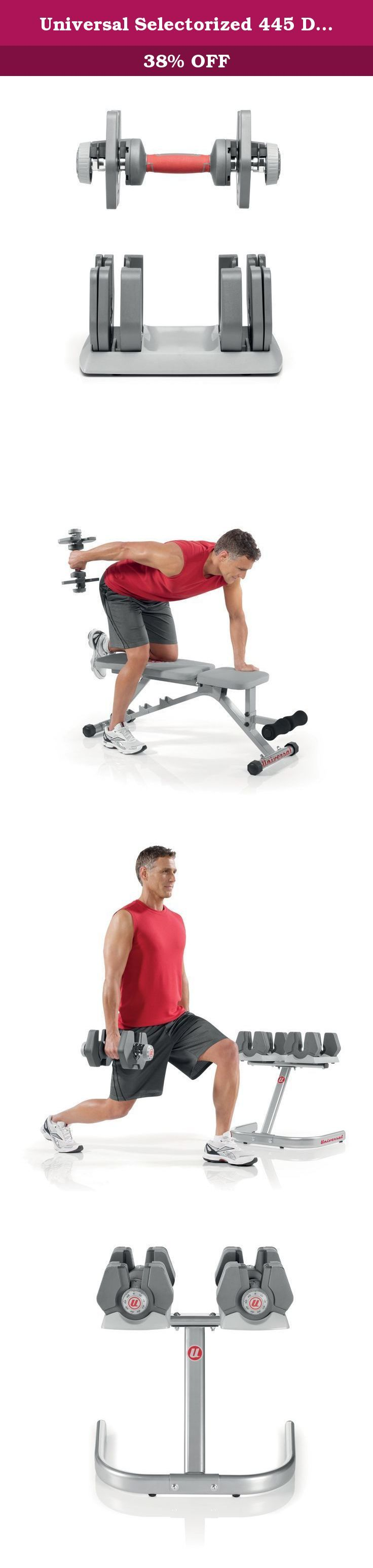 Universal Selectorized 445 Dumbbells and Stand. Offering an ideal combination of performance and space-saving ingenuity, the Universal Power Pak dumbbell and stand set is a great choice for athletes and beginning weight trainers alike. The Power Pak dumbbells--which adjust from 4 to 45 pounds in 5-pound increments--work just like a weight stack at the gym. When you want to change weights, simply move the weight selector dial to the appropriate setting. As you lift the handle, the weights...