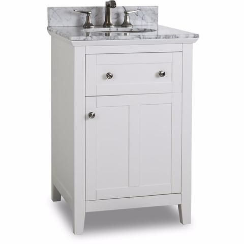 Gallery Website Bathroom Vanity Chatham Shaker Bathroom Vanity with Carerra White Marble Top and Porcelain Bowl Grey or Painted White Finish