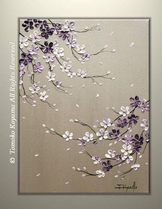 Original peinture abstraite moderne acrylique empâtement sur Galerie enveloppé de toile 18 x 24 Home Decor,---fleurs de cerisier pourpres---