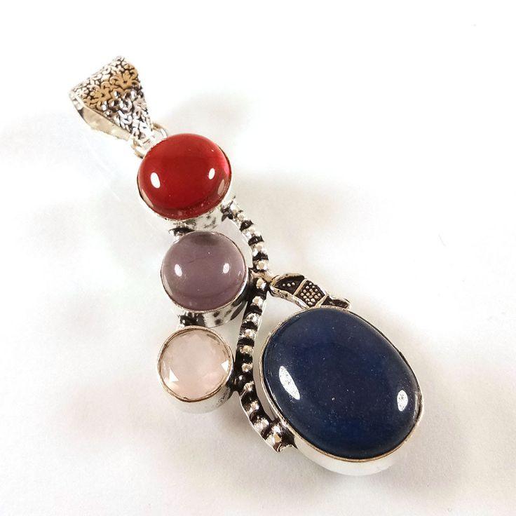 Exclusive Designer AMETHYST,LAPIS,GARNET Gemstone Silver Plated Fancy Pendant. #Gajrajgems92_9 #Pendant