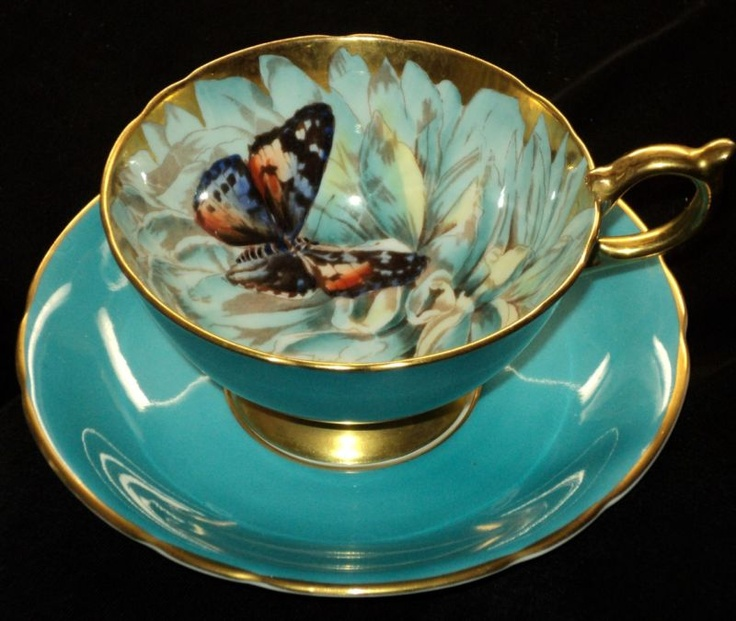 Aynsley Athens BUTTERFLY AZUREAN BLUE Tea cup and saucer