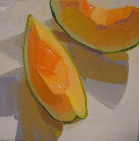 cantaloupe, summer, light, orange, bold, abstract, square