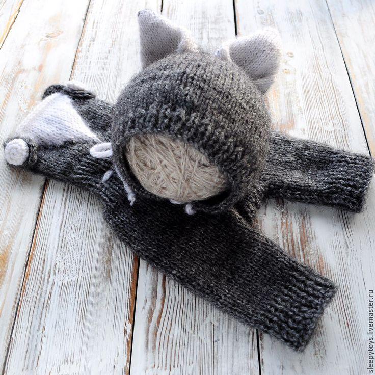 Купить Костюм волка для фотосессии новорожденных - серый, шапочка для фотосессии, шапочка для новорожденого, фото реквизит