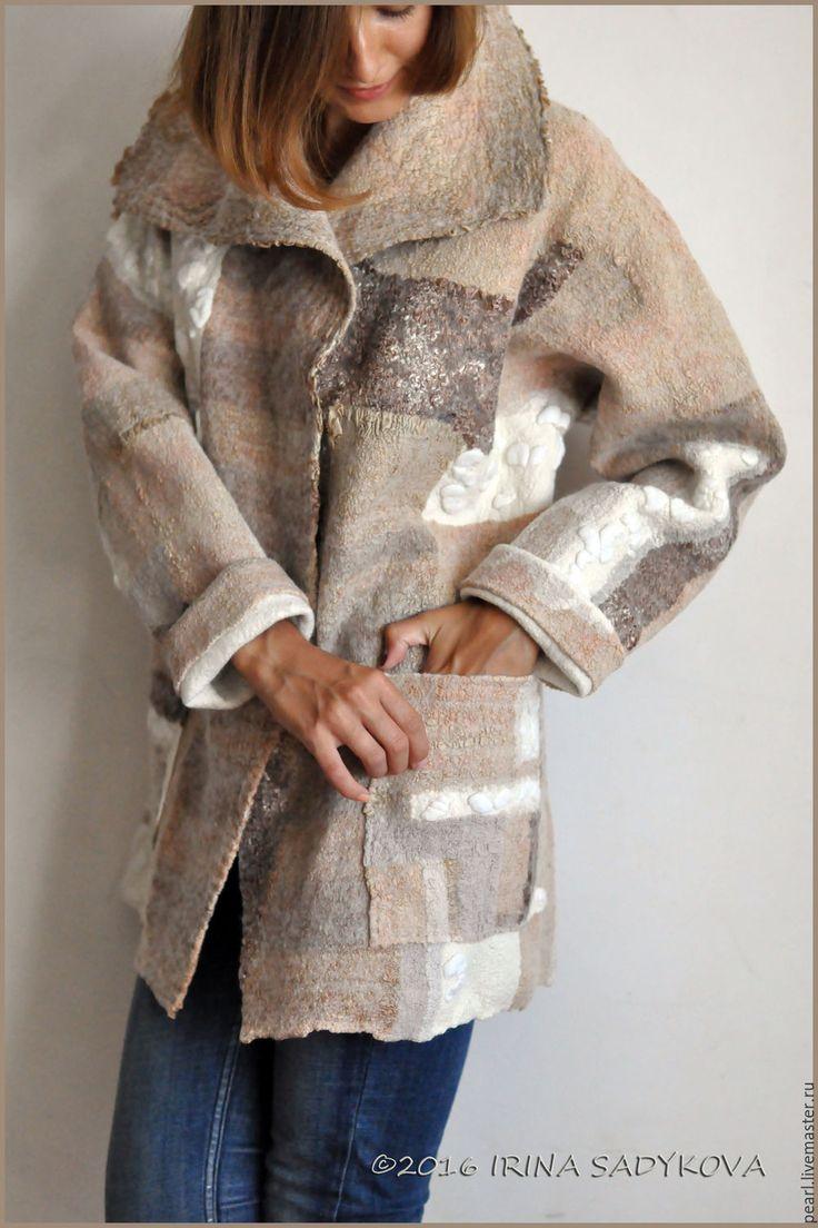 Купить Парка ZEFIR - бежевый, абстрактный, принт, квилт-войлок, пальто, парка…