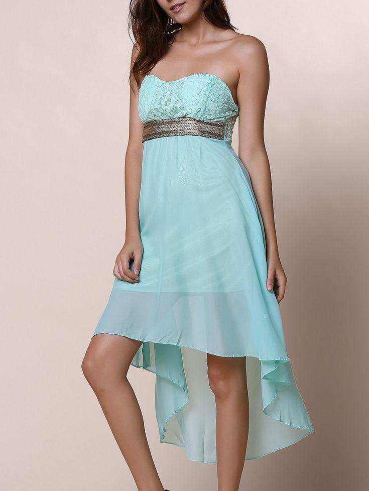 Strapless Lace Spliced Irregular Hem Sheer Club Dresses For Women - BLUE XL