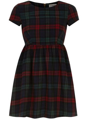 Tartan Dress...would love it even more with longer sleeves and a white Peter Pan collar.
