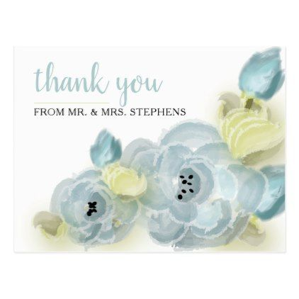Blue | Green Watercolor Floral Wedding Thank You Postcard - modern gifts cyo gift ideas personalize