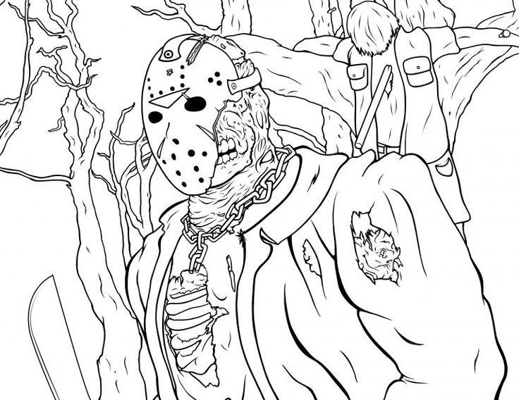 Jason Coloring Pages Friday The 13th Coloring Book Art Cartoon Coloring Pages Coloring Books
