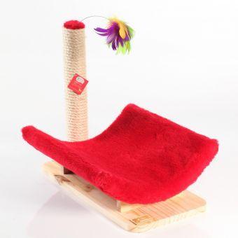 Rascador Mirringa Mirronga en madera pino canadiense con cuna roja para máximo confort