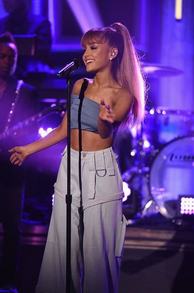 Ariana Grande performs on 'The Tonight Show Starring Jimmy Fallon' at Rockefeller Center.