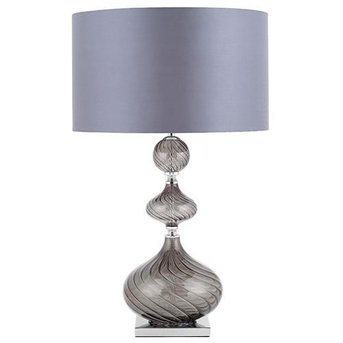 Endon HAMLET-TLSMK Polished Chrome Base & Smoked Glass Table Lamp with Dark Grey Faux Silk Shade (Endon Lighting HAMLET-TLSMK) - discounthomelighting