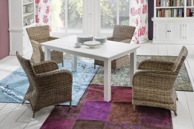 This is the perfect chair for casual dining.  Hand woven and extremely comfortable, you and your guests won't want to leave the table. Wonderfully compact, with an interesting texture that adds visual impact. The included cushion features an all natural 100% cotton cover, fabricated in a sturdy herringbone, removable for easy cleaning.