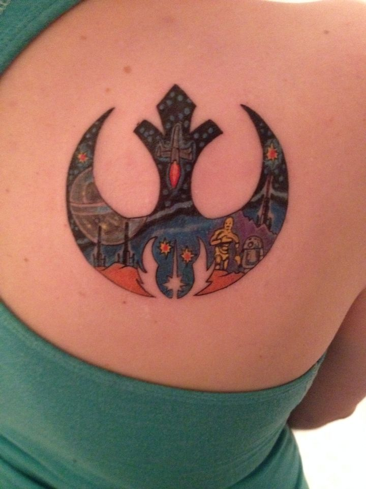 Star Wars tattoo. Old school style tattoo. Rebel alliance. Jedi order.
