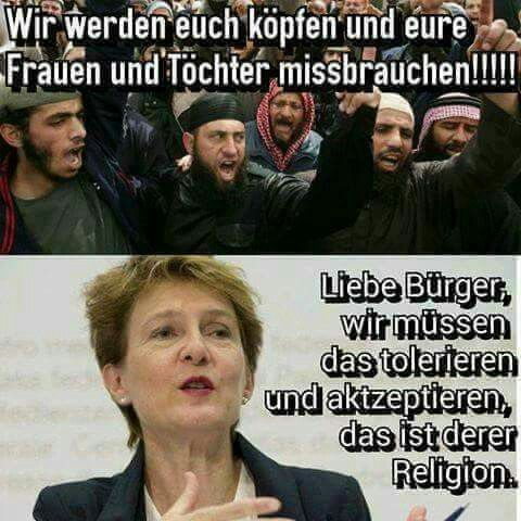 Wir werden euch köpfen und eure Frauen und Töchter missbrauchen!!! Liebe Bürger, wir müssen das tolerieren und akzeptieren, das ist deren Religion!