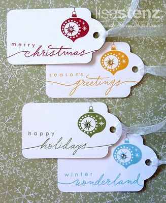 The final set uses the Holiday Commentary stamp set along with one of the ornaments from the Holiday Cheer set. I also used a Clear Sparkle in the center of the ornament to quickly add a tiny bit of bling.